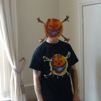 Andrew Holmes in his smileybones mask